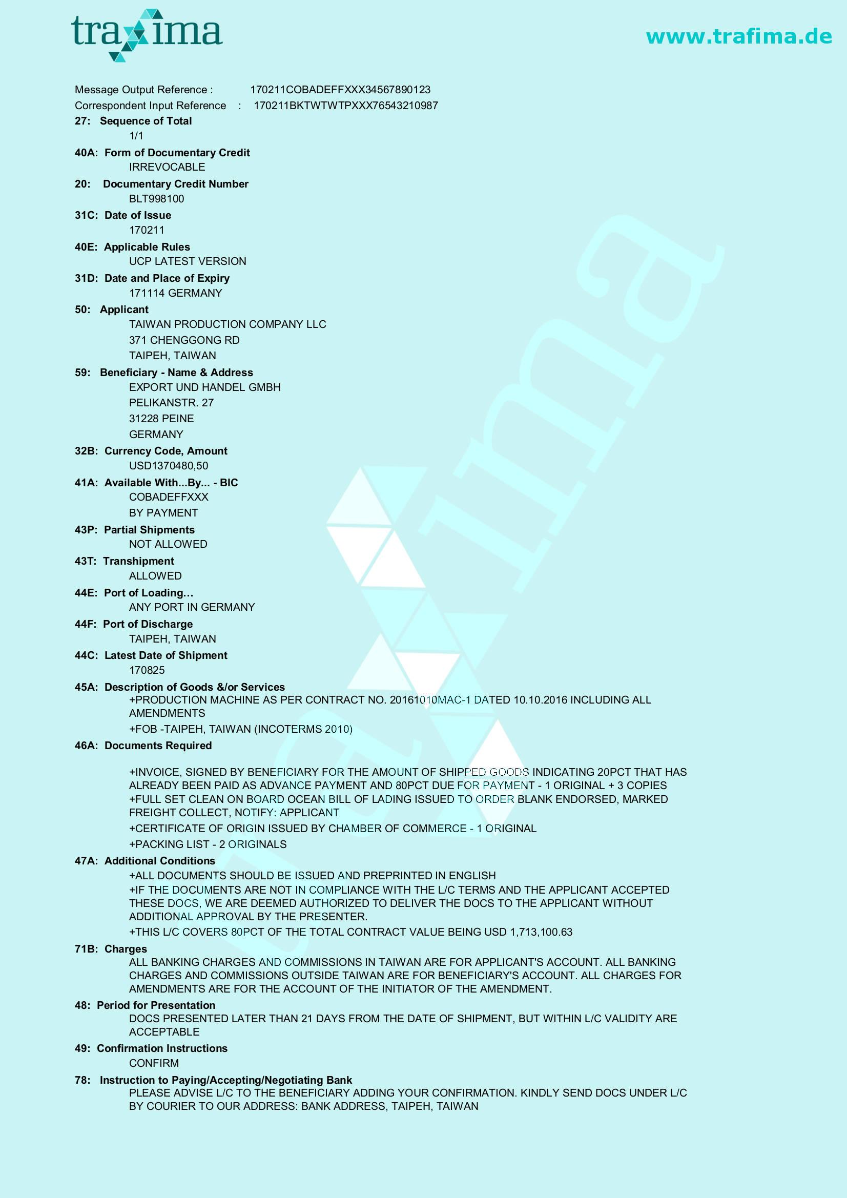 Ein Akkreditiv-Muster für eine Lieferung per Schiff nach Taiwan