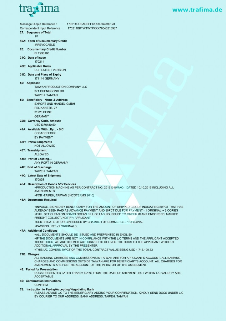 Ein Akkreditiv-Muster für eine Lieferung per Schiff